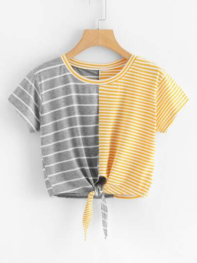 Contrast Striped Knot Front Crop Tee