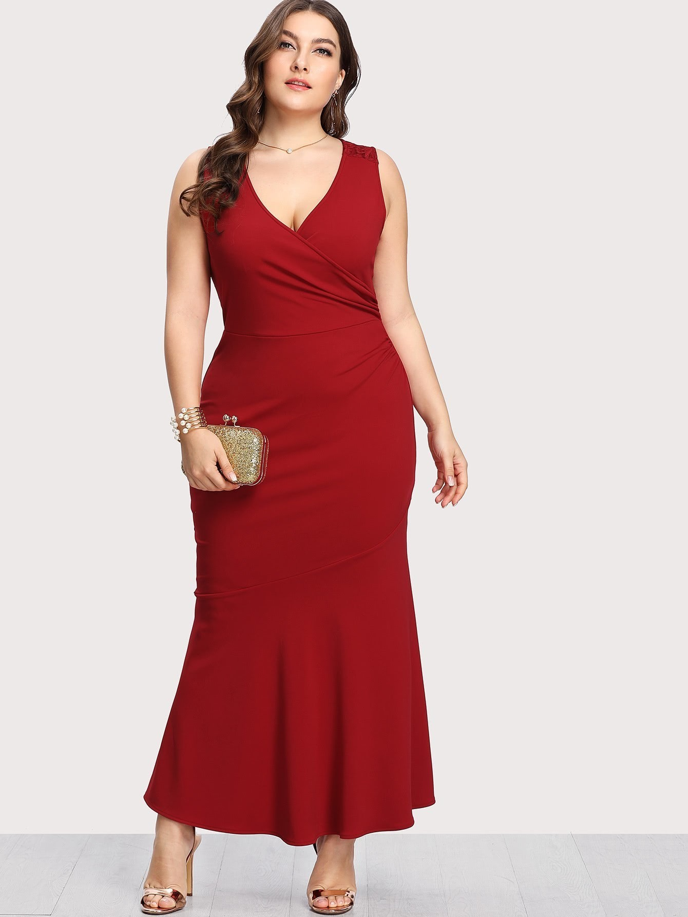 Plus Surplice Neckline Lace Overlay Fishtail Hem Dress
