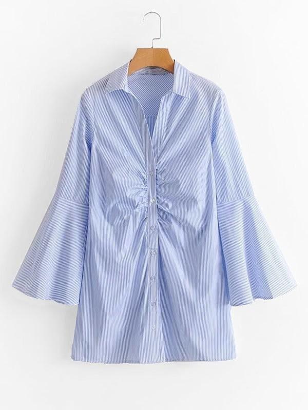 Ruched Деталь Белл рубашки Полосатая рубашка платье