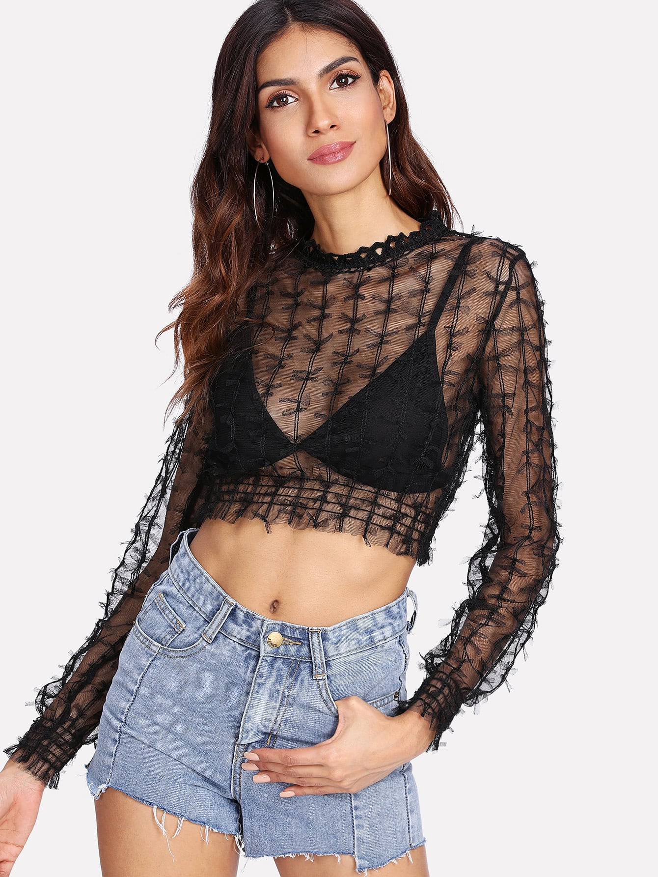 Contrast Lace Crop See-Through Top button through crop top