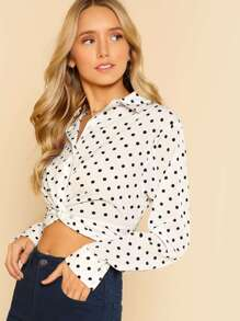 Polka Dot Collared Buttoned Front Know Crop Top WHITE BLACK