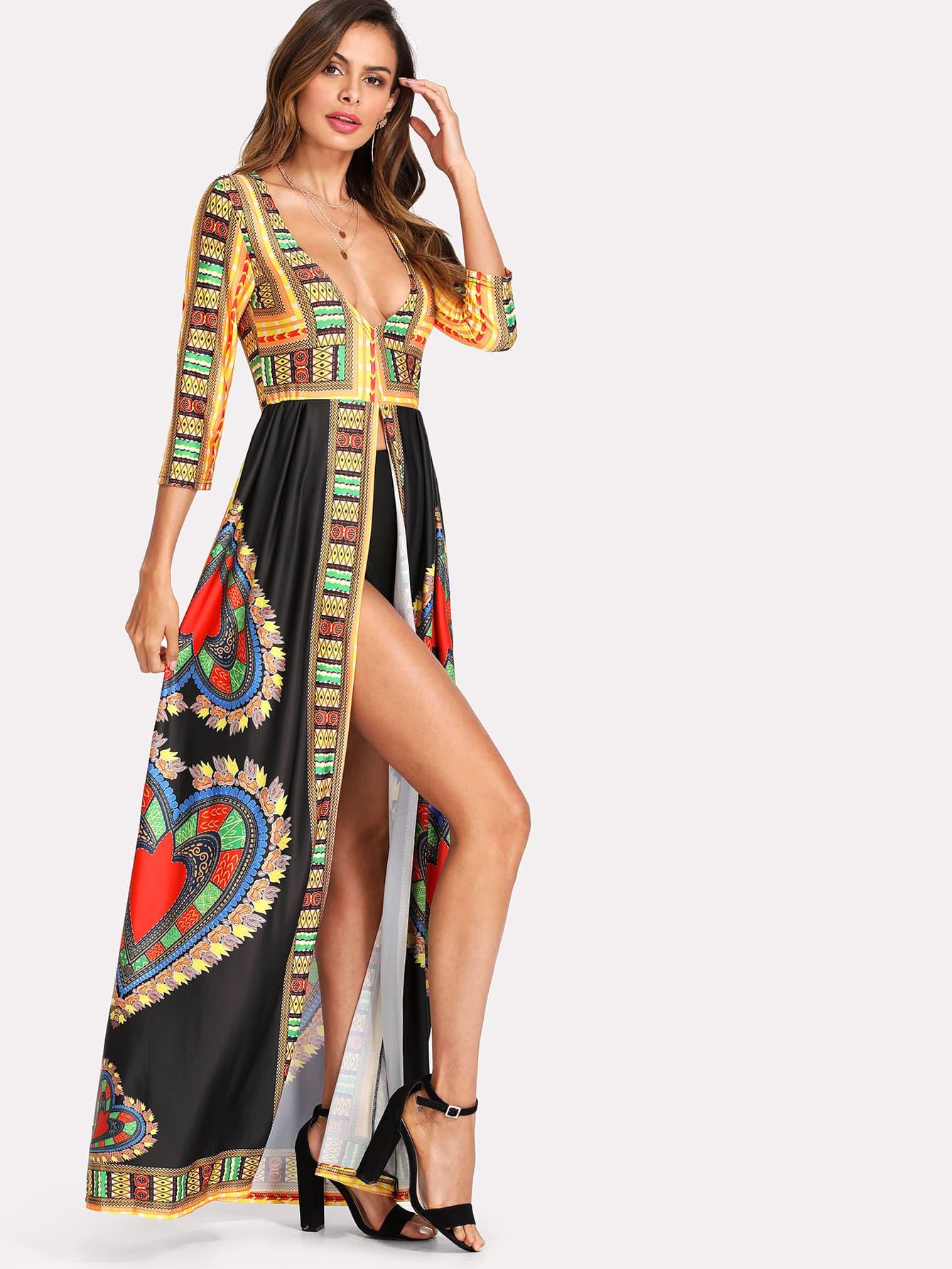 Купить Модное макси кимоно с графическим принтом, Andy, SheIn