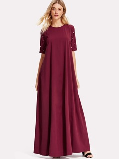 Pearl Beaded Sleeve Swing Dress