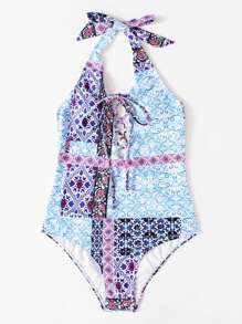 Lace Up Geometric Pattern Swimsuit