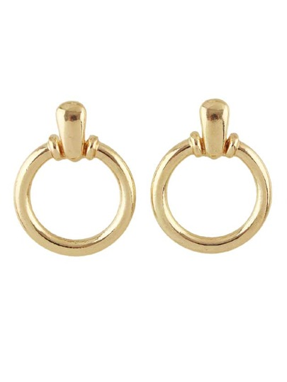 Gold Simple Circular Earrings For Women