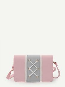 Grommet Criss Cross Color Block Crossbody Bag