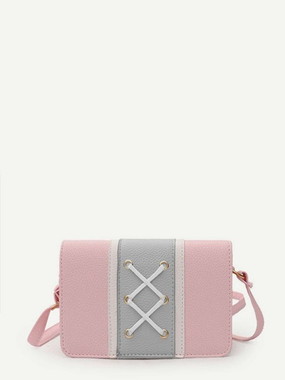 Grommet Criss Cross Color Block Crossbody Bag