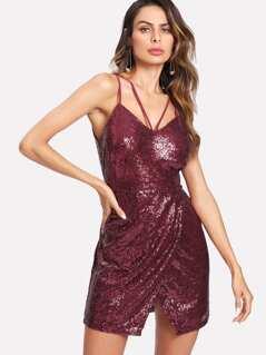 Strappy Neck Sequin Cami Dress