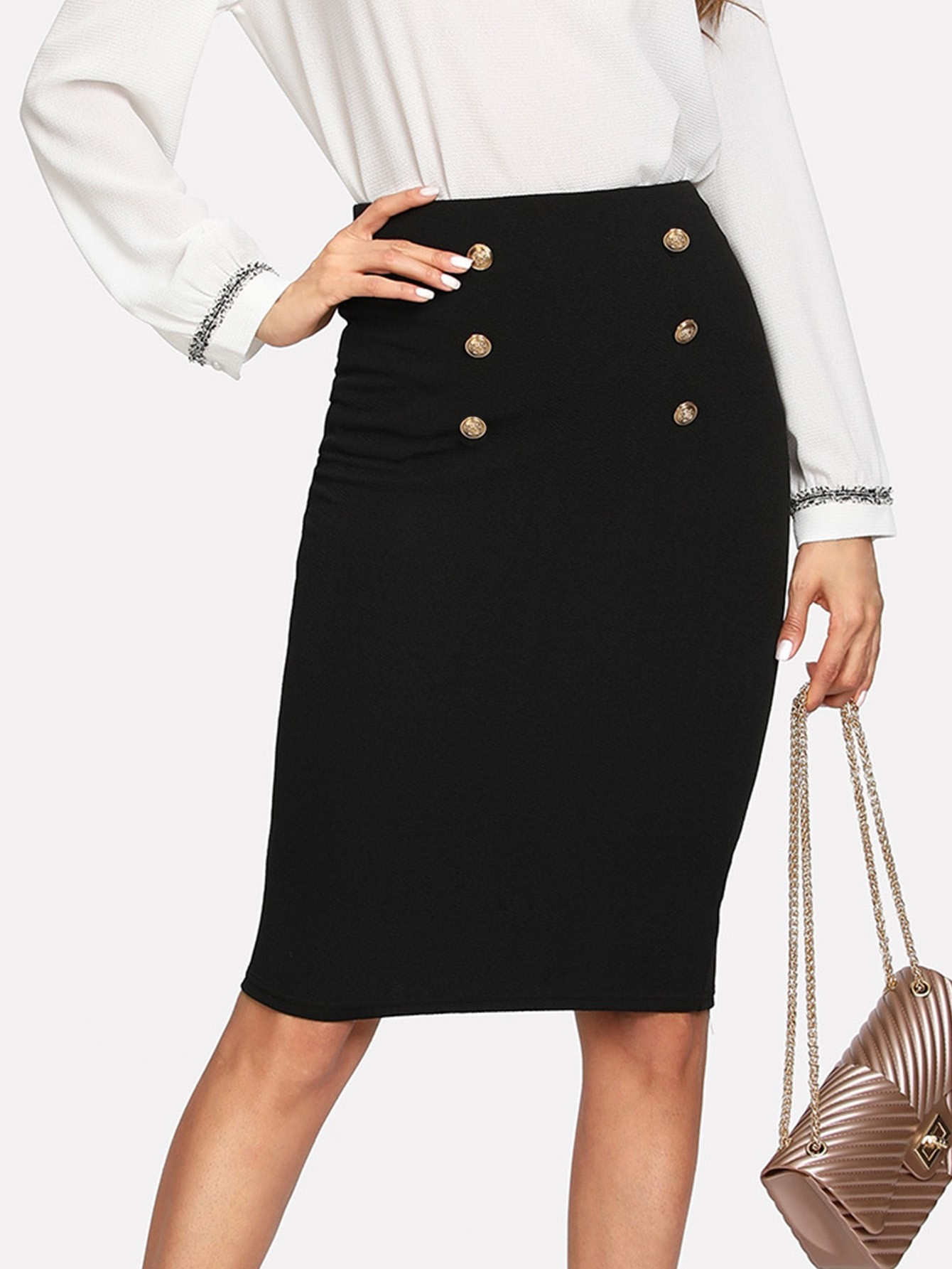 Double Button Pencil Skirt button side stripe pencil skirt