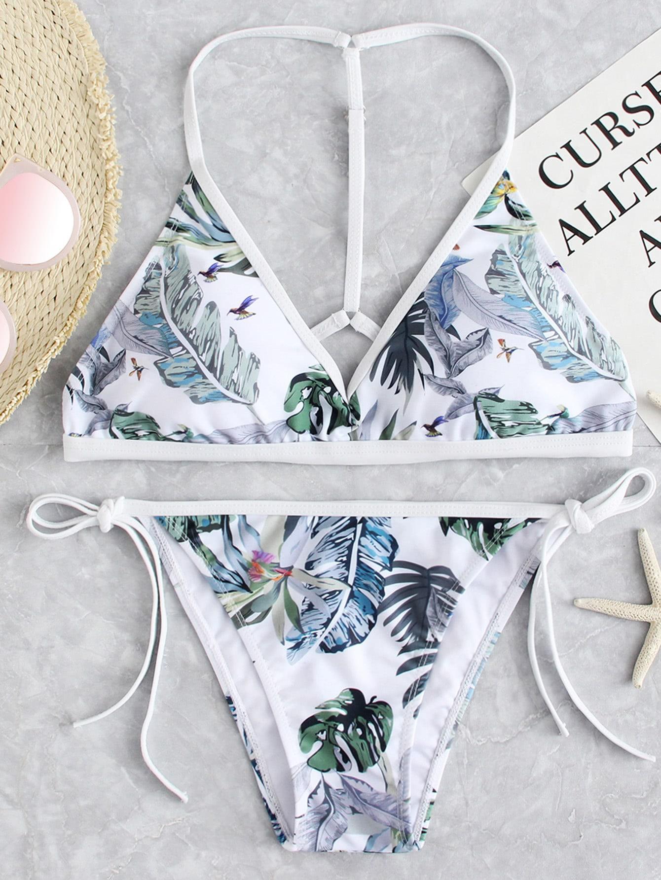 Tropical Print Tie Side Bikini Set flower allover print tie side bikini set