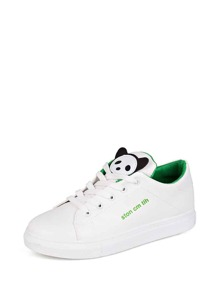 Patch Decor Lace Up Sneakers