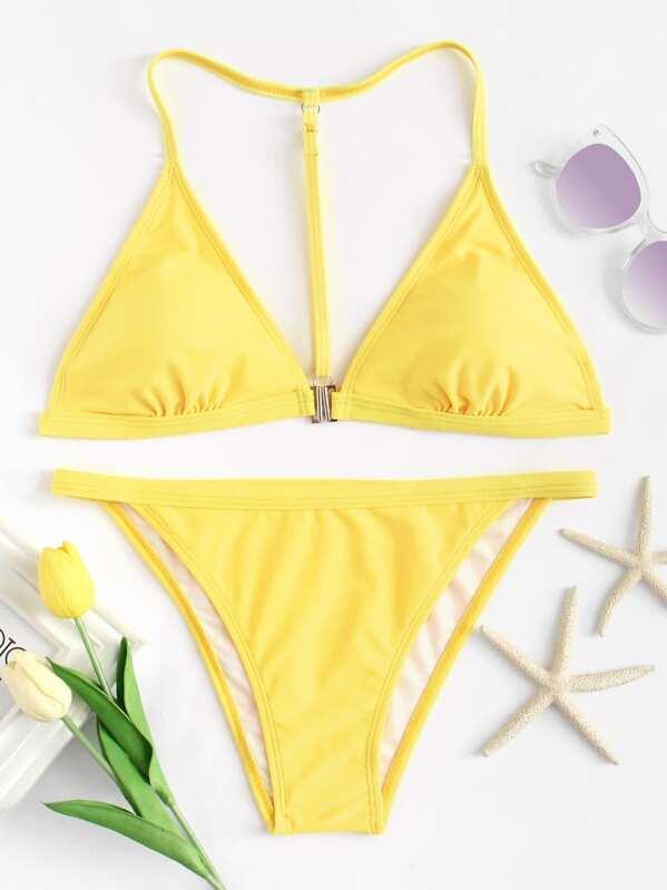Neon Yellow String Top With High Leg Bikini