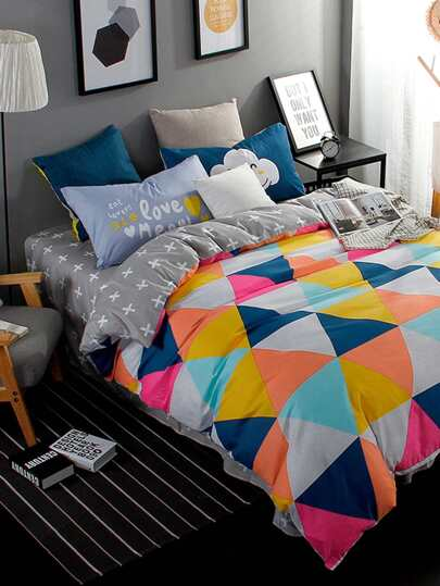 2.2m 4Pcs Geometric Print Duvet Cover Set