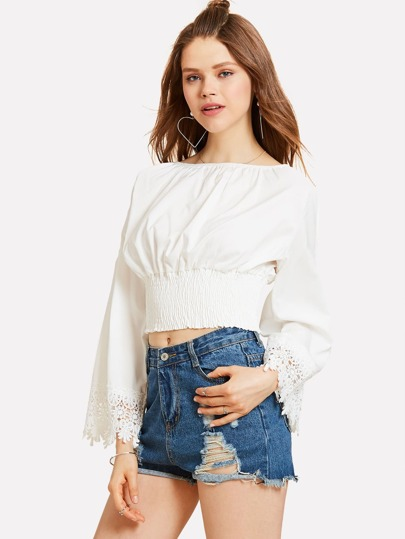 Contrast Guipure Lace Open Shoulder Shirred Crop Top