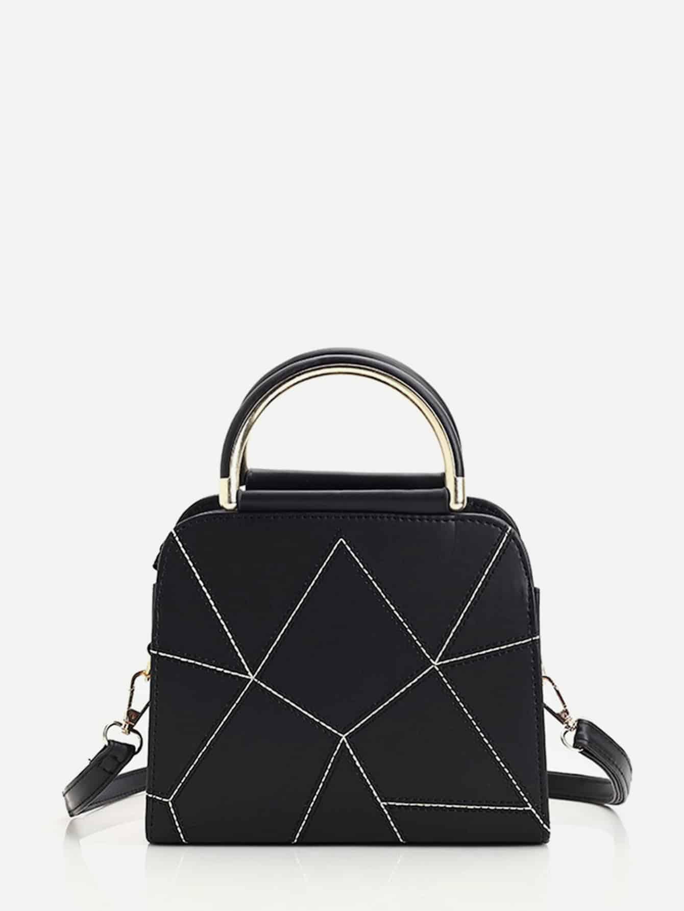 Geometric Design PU Handbag With Strap geometric design pu handbag with strap