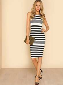 Sleeveless Striped Bodycon Dress BLACK OFF WHITE
