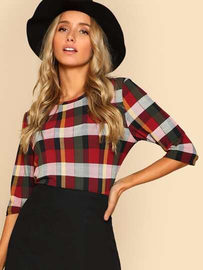 Round Neck Plaid Top