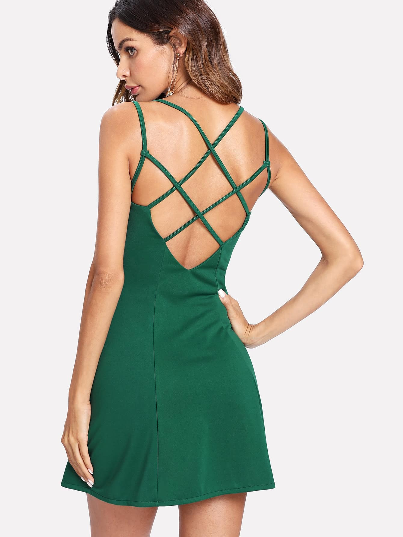 Criss Cross Back Cami Dress criss cross lace up open back cami dress