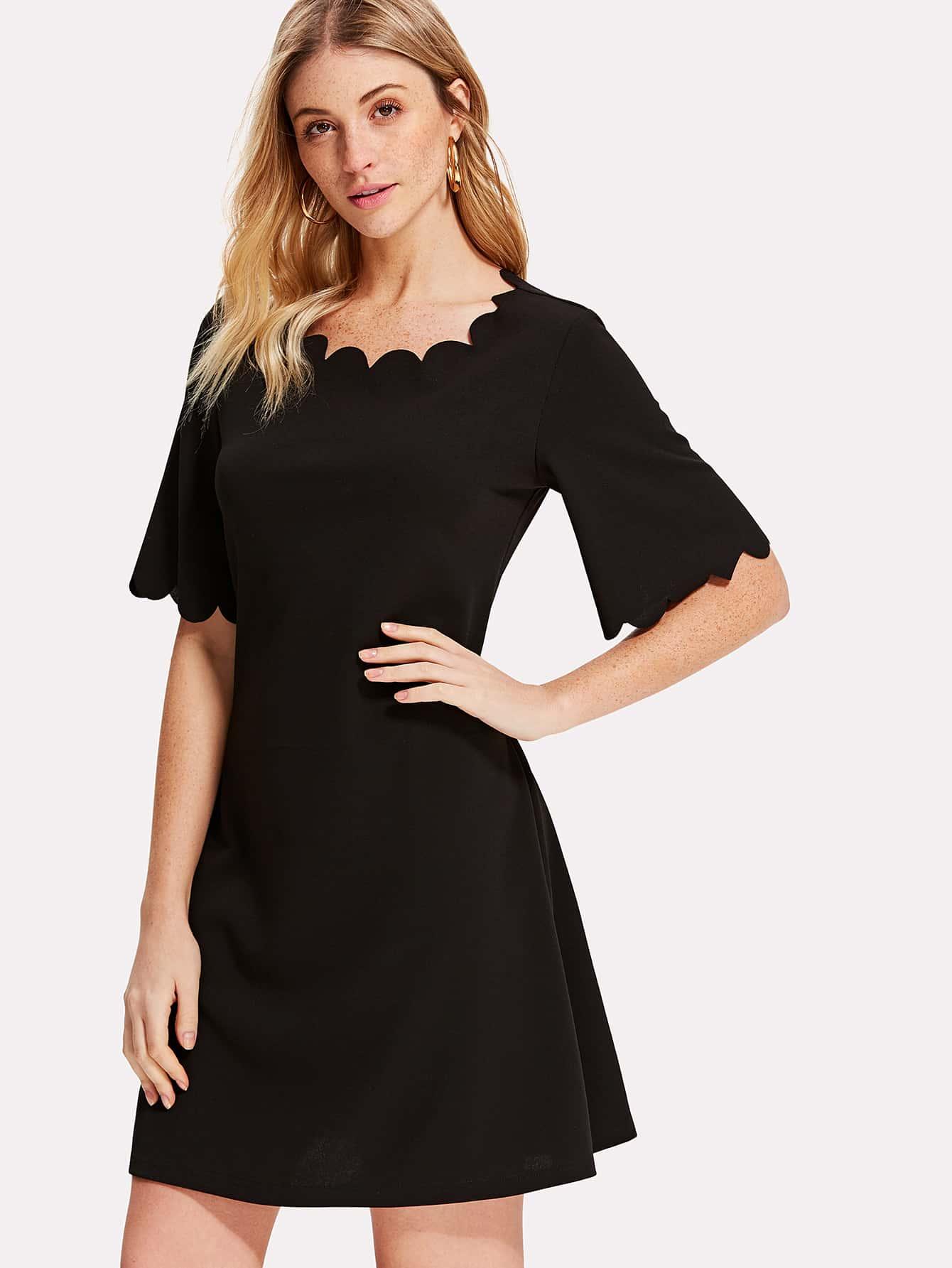 Scallop Trim Flutter Sleeve Solid Dress contrast scallop trim balloon sleeve shirt