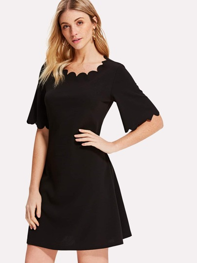Scallop Trim Flutter Sleeve Solid Dress