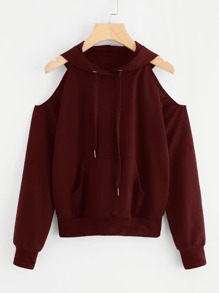 Cold Shoulder Kangaroo Pocket Hoodie