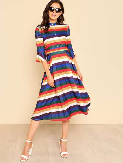 Button Up Front Flounce Sleeve Striped Dress