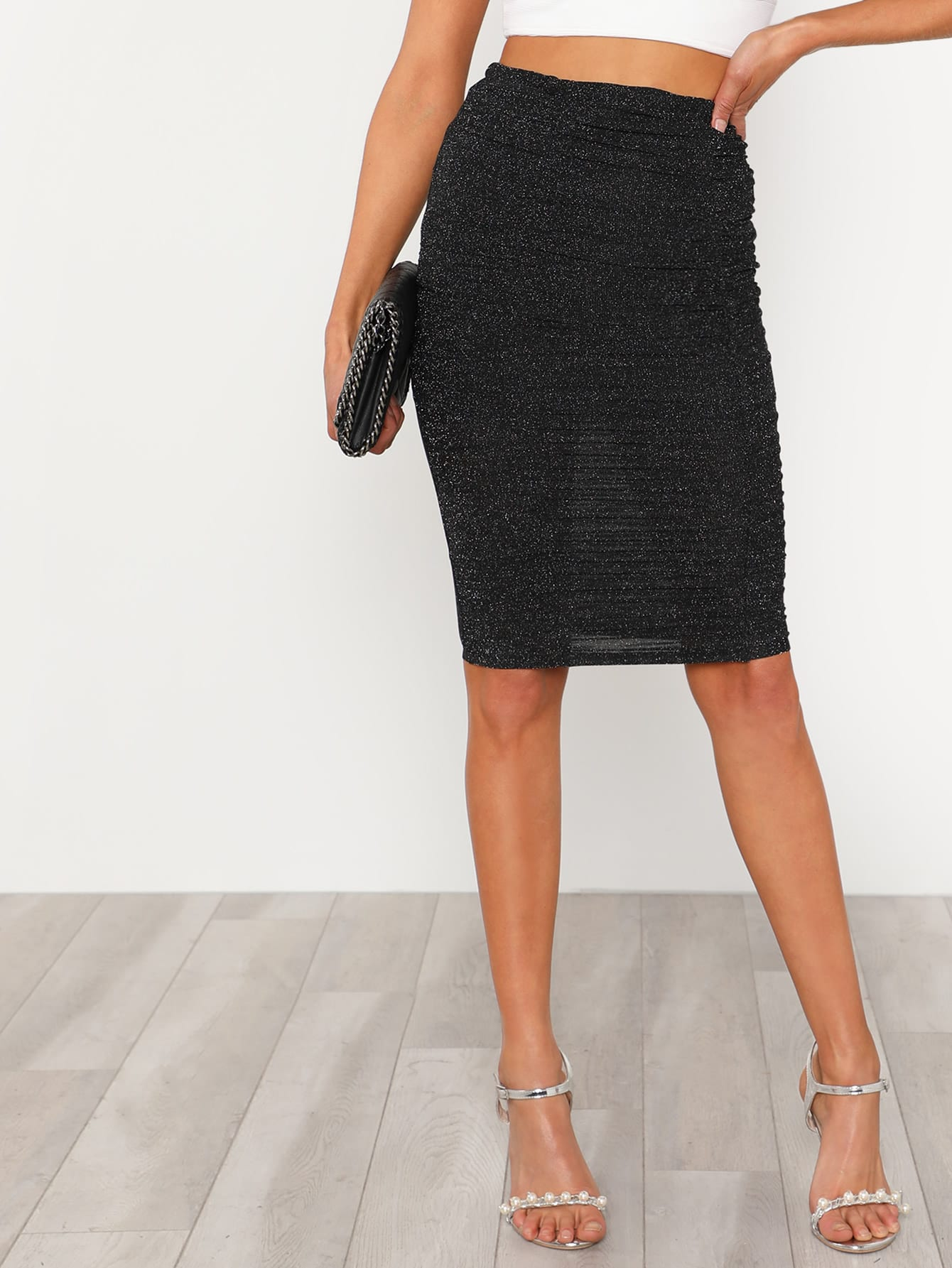 Ruched Glitter Skirt solid ruched knit skirt