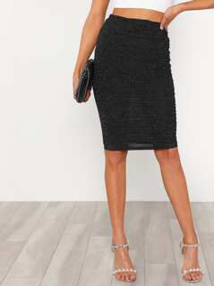 Ruched Glitter Skirt