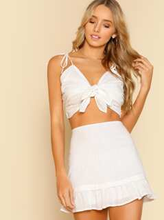 Double Front Tie Crop Top and Ruffle Skirt WHITE