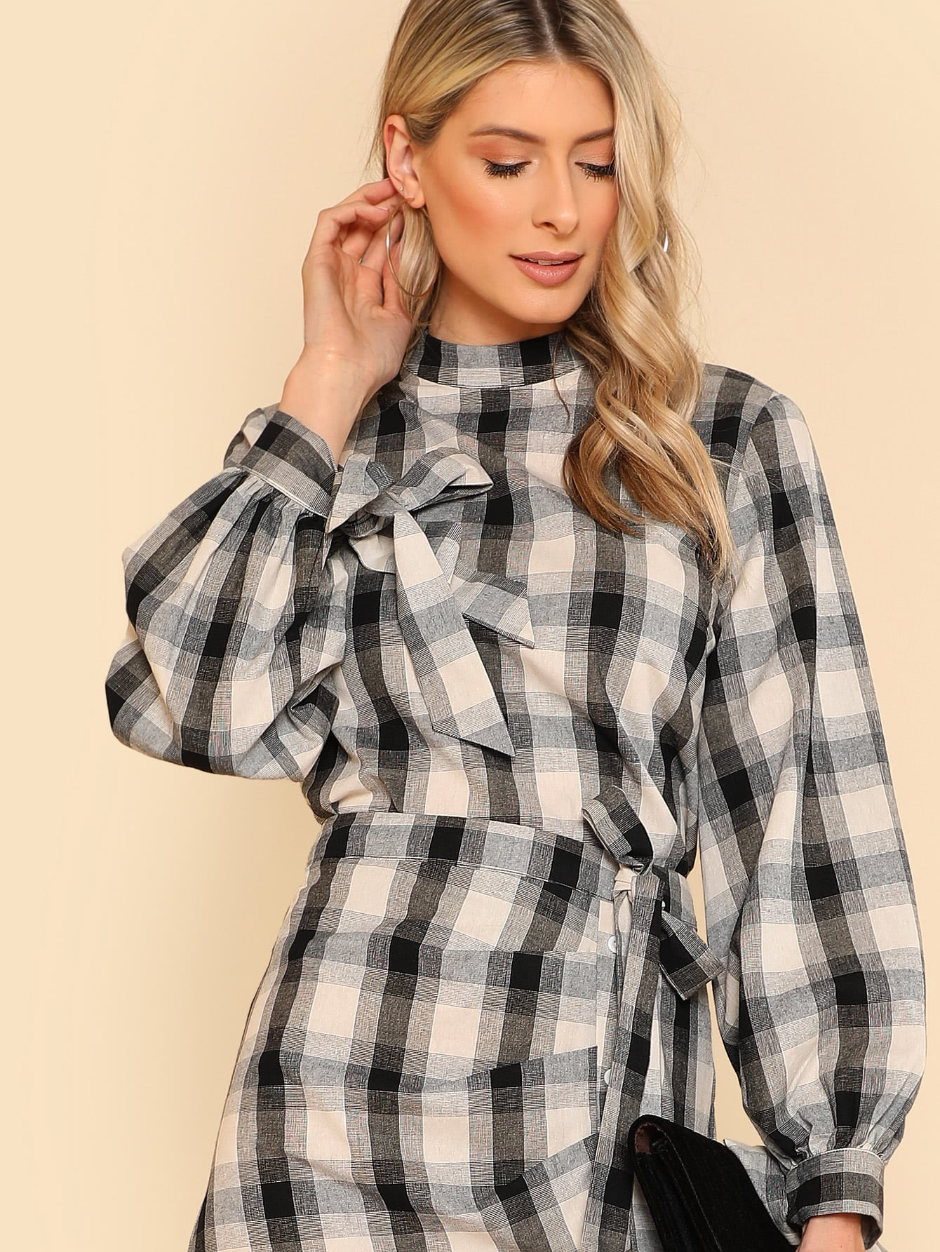 Knot Cuff Keyhole Back Plaid Top zip up back knot plaid top