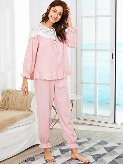 Contrast Lace Ruffle Trim Top & Pants PJ Set
