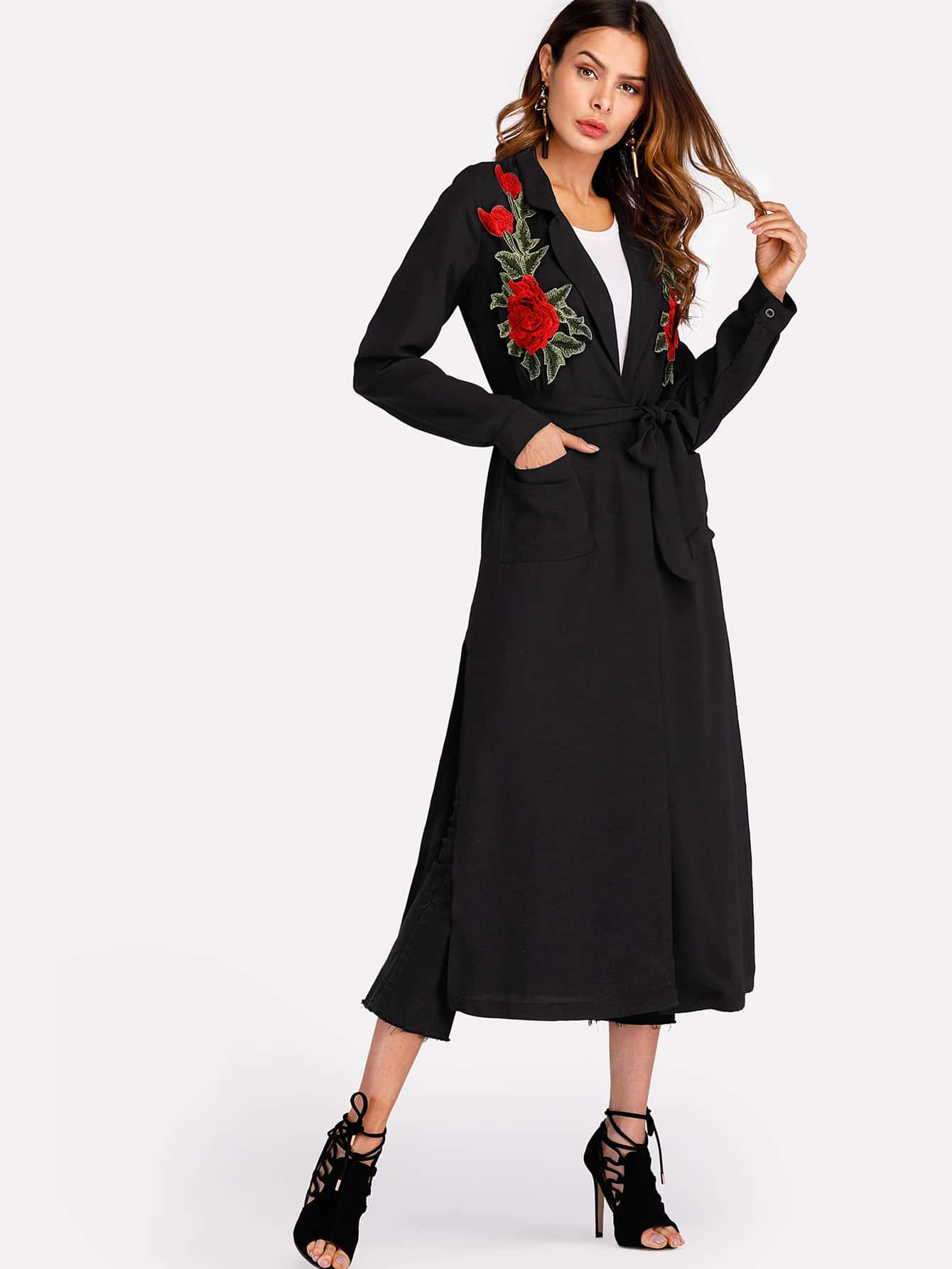 3D Embroidered Applique Slit Side Coat split side embroidered applique dress