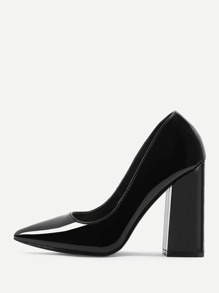 Block Heeled Pointed Toe Pumps
