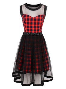 Contrast Mesh Tartan Plaid Dress