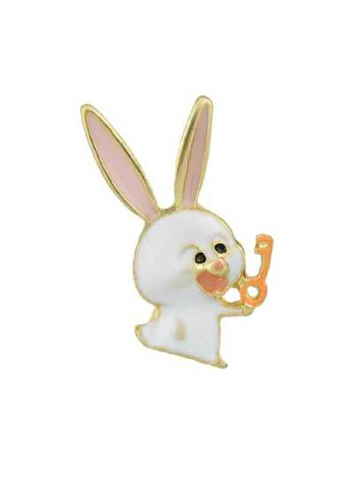 White Confidential Rabbit Brooch