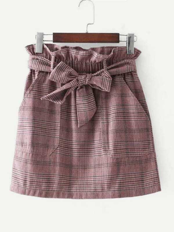 Frill Waist Self Tie Plaid Skirt