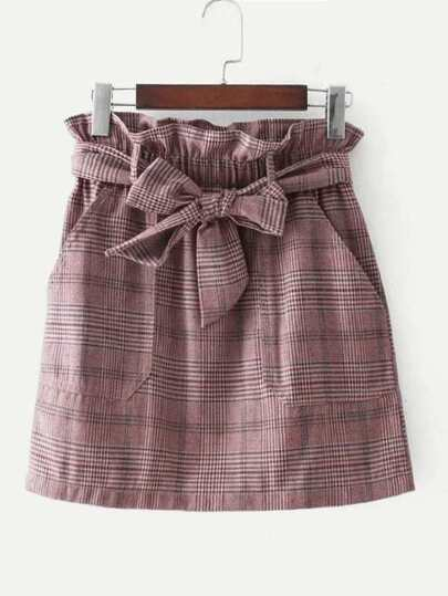 Frill Waist Self Tie Plaid Skirt