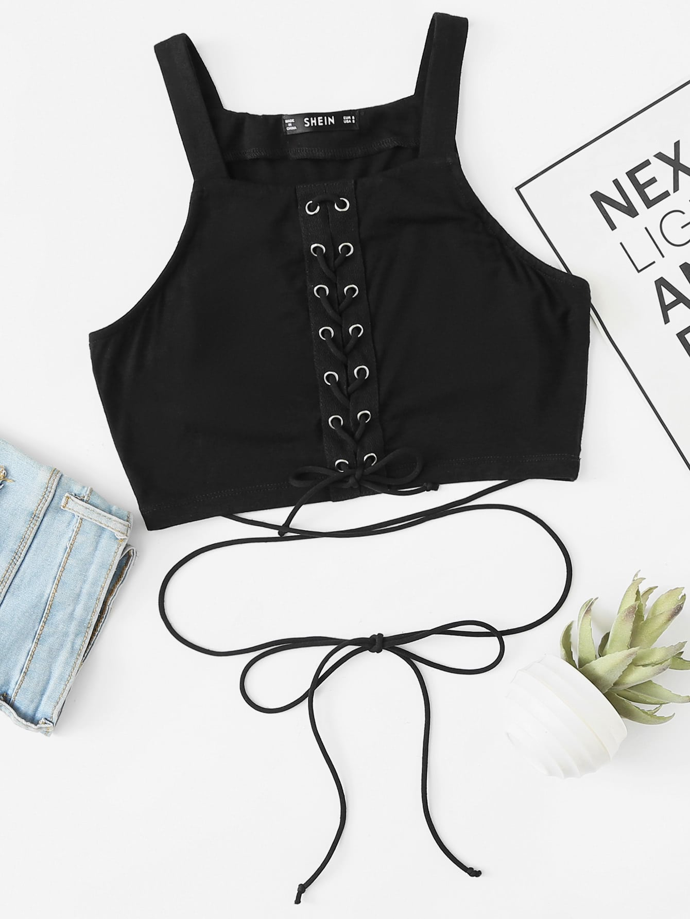 Eyelet Lace Up Crop Top