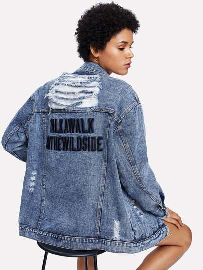 Letter Embroidered Shredded Denim Jacket