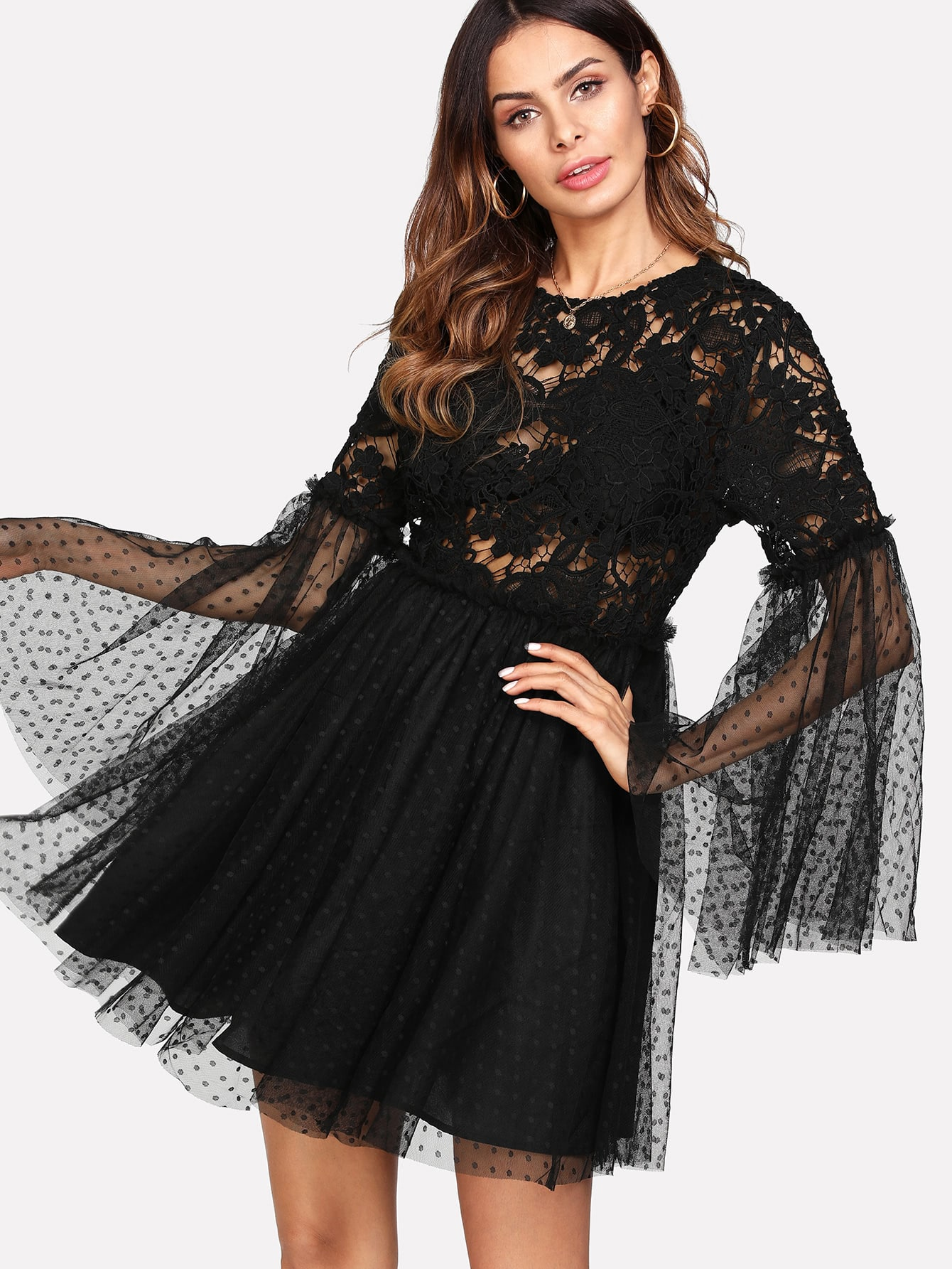 Flounce Sleeve Knot Back Fit & Flare Lace Dress zip back fit and flare splicing dress