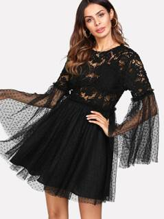 Flounce Sleeve Knot Back Fit & Flare Lace Dress