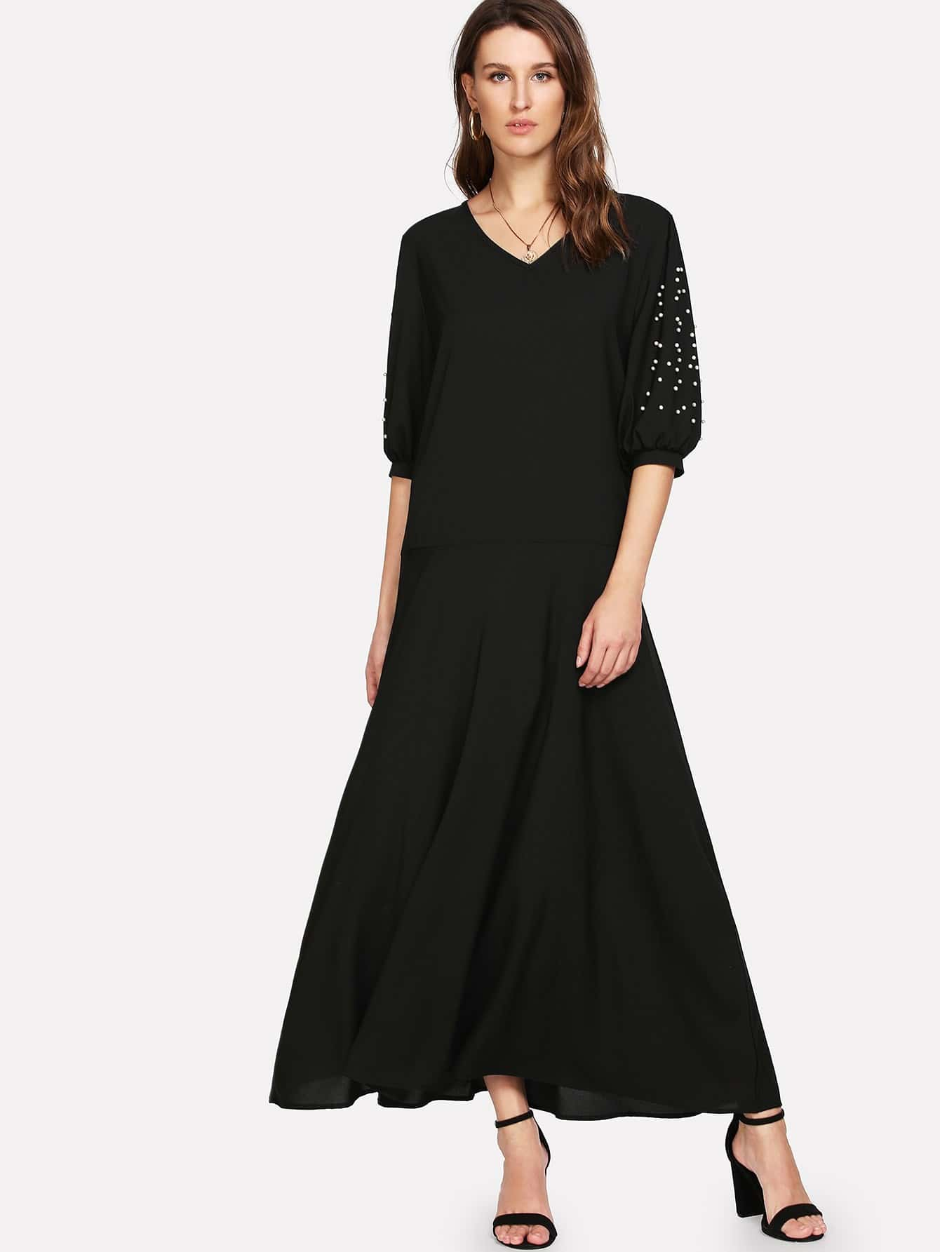 V Neckline Pearl Beaded Dress