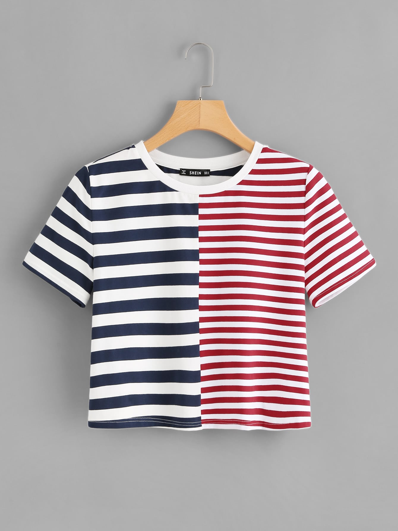 Two Tone Striped Tee two tone drop shoulder sweatshirt