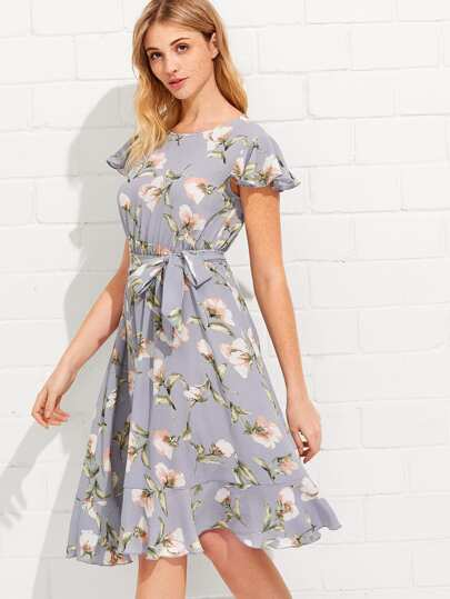 Flutter Sleeve Ruffle Hem Calico Print Dress
