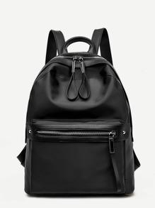 Zip Closure PU Backpack
