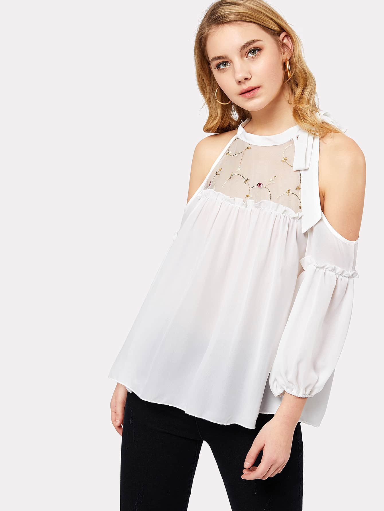 Embroidered Mesh Neck Open Shoulder Top mesh open shoulder side ruched lattice top