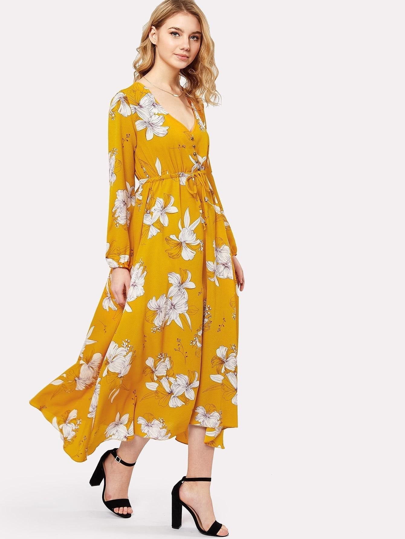 все цены на Flower Print Drawstring Waist Button Front Dress
