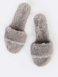 Fuzzy Slip On Sandals GREY