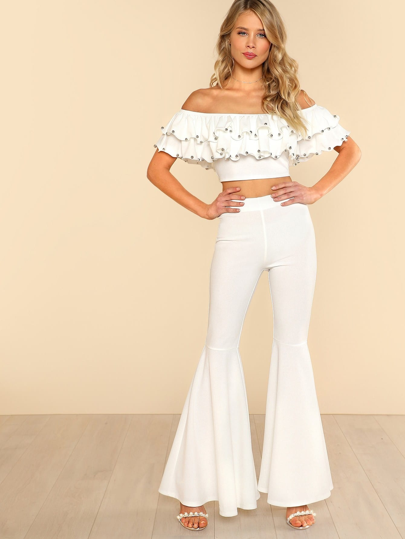Beading Detail Layered Bardot Top & Pants Set embroidered tape detail beading trim bardot top