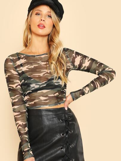 Camo Print Long Sleeve Crop Tee